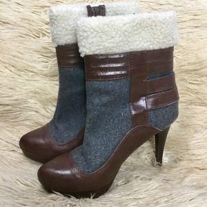 Elle Eldrew Faux Fur/Shearling Heeled Booties